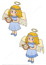 find 5 differences with a little in halloween angel costume