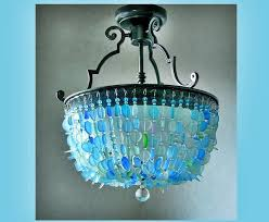 Teal Glass Chandelier Sea Glass Chandelier Lighting Ceiling Fixture Beach Glass