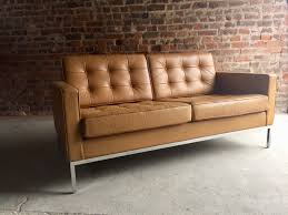 florence knoll canapé vintage 2 seater leather sofa by florence knoll for knoll for sale