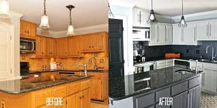 painting dark wood cabinets white before and after paint kitchen