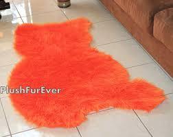 Orange Kids Rug Orange Faux Fur Rug Etsy
