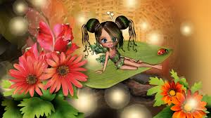 fantasy autumn wallpaper flower little green fall fairy colorful astors gold glow cute