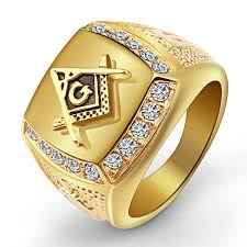 gold square rings images High quality trendy gold square titanium steel ring rhinestone jpg