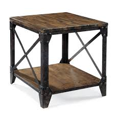 small rectangular end table pinebrook rectangular end table with rustic iron legs by magnussen