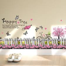 online get cheap pink tile aliexpress com alibaba group new arrival love happy tree wall foot wall stickers pink flowers home foot line sticker size