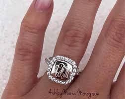 monogram ring silver monogram ring etsy