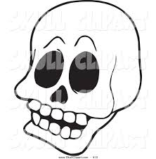 vector clip art of a coloring page outline design of a skull by