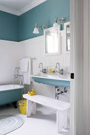 Beach Themed Bathroom Mirrors by Kids Bathroom With Two Small Square Mirror And White Blue