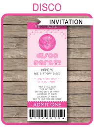 disco party ticket invitations birthday party template