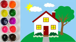 coloring house for kids and painting how to color cartoon house
