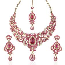 necklace with pink stone images Buy i jewels traditional gold plated stone necklace set with maang jpg