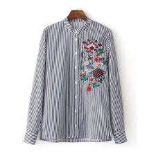 striped blouse embroidery blouse striped shirt cotton stand collar