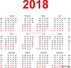 Calendar 2018 Ai Template 2018 Calendar Template Vertical Weeks Day Monday Stock