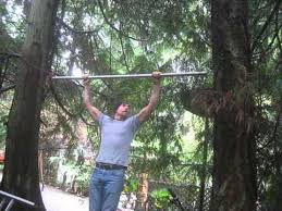 doing pull ups between trees