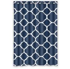 navy and white shower curtain interior design