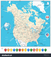 capital of canada map usa canada large detailed political map stock vector 480023047
