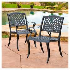 Christopher Knight Patio Furniture Reviews Hallandale Set Of 2 Cast Aluminum Patio Chairs Black Sand
