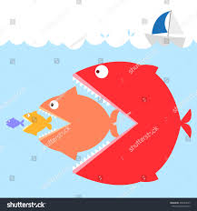 colorful fishes sea meaning big fish stock vector 263584073