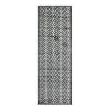modern trellis silver grey runner rug bombay kukoon