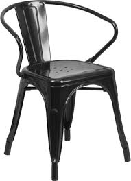 Black Metal Chairs Outdoor Metal Indoor Outdoor Chair With Arms Industrial Outdoor Dining