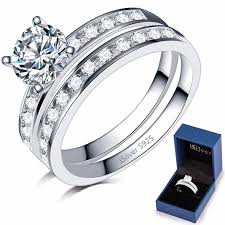 sterling silver wedding gifts 925 sterling silver wedding engagement ring set eternity