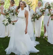summer wedding dress halter neckline open back summer wedding dress