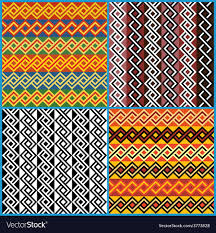 four seamless ornaments on ethnic motifs vector image
