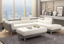 White Leather Sofa Sectional 2 Tone White And Light Grey Bonded Leather Sectional Sofa F6979