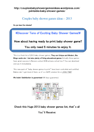 couples baby shower games ideas