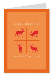 merry a happy new year reindeers cards