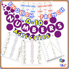 numbers 0 10 activity worksheets english and french for kids tpt
