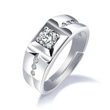 open wedding band 925 sterling silver rings for men inlaid square zirconia