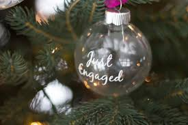 just engaged glass ornament gift personalized ornament couples