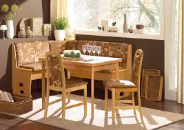 Small Kitchen Table And Bench Set - kitchen nook with narrow table and brown banquette bench plus