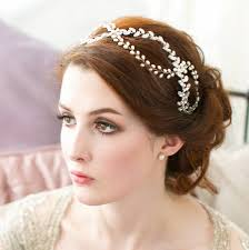 pearl headpiece twisted laurel rhinestone and pearl bridal headpiece by