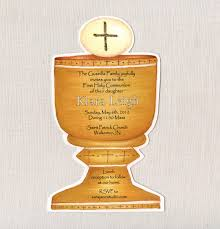 Holy Communion Invitation Cards Samples 20 Gold Holy Chalice First Communion Invitations 5x7