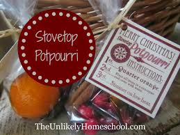 the unlikely homeschool stovetop potpourri with printable tag