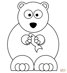 cartoon polar bear with fish coloring page free printable
