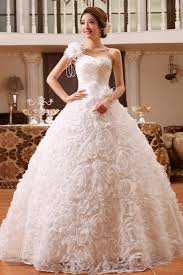 wedding gowns pictures flowery single shoulder christian wedding gown