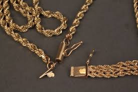 gold chain rope bracelet images Lot 240 14k yellow gold rope chain necklace bracelet jpg