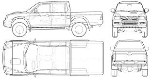 mitsubishi mini pickup car blueprints mitsubishi l 200 blueprints vector drawings