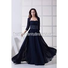strapless navy beaded chiffon evening dress with jacket bcdw4457