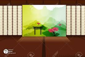 japanese design of traditional japanese room with landscape view