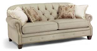 Flexsteel Reclining Loveseat Champion Transitional Button Tufted Sofa With Rolled Arms And
