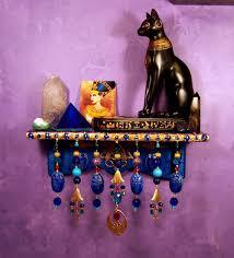 Wiccan Home Decor Egyptian Bast Pyramid Scarab Mini Shelf Pagan Wiccan Wall Altar