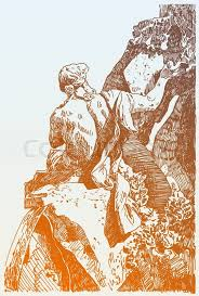 sketch hand drawing of marble sculpture in piazza navona fountain