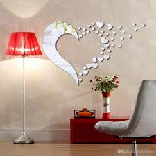 new acrylic 3d mirror stereo wall stickers love combination decals