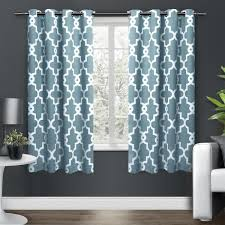 63 inch teal blue white moroccan curtains panel pair set light