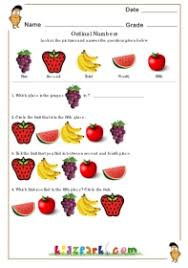 fruits containing ordinal numbers worksheets for kids printable