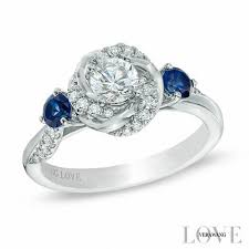 Blue Wedding Rings by Vera Wang Love Collection 5 8 Ct T W Diamond And Blue Sapphire